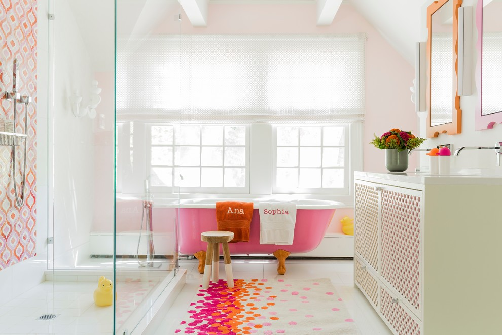 Transitional kids' multicolored tile, orange tile and pink tile freestanding bathtub photo in Boston with pink walls