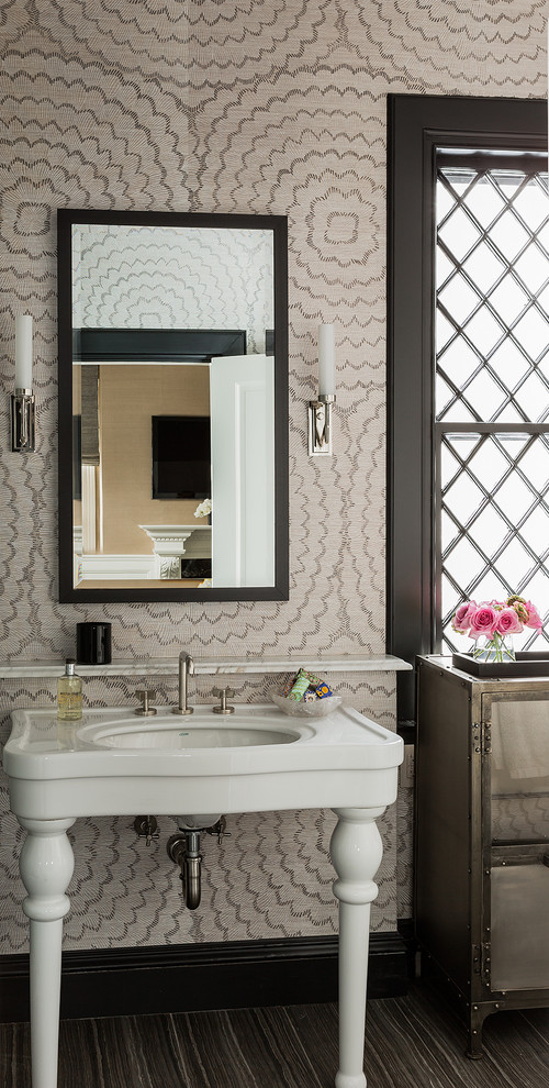 Inspiration for a mid-sized transitional master bathroom remodel in Boston with an undermount sink and beige walls