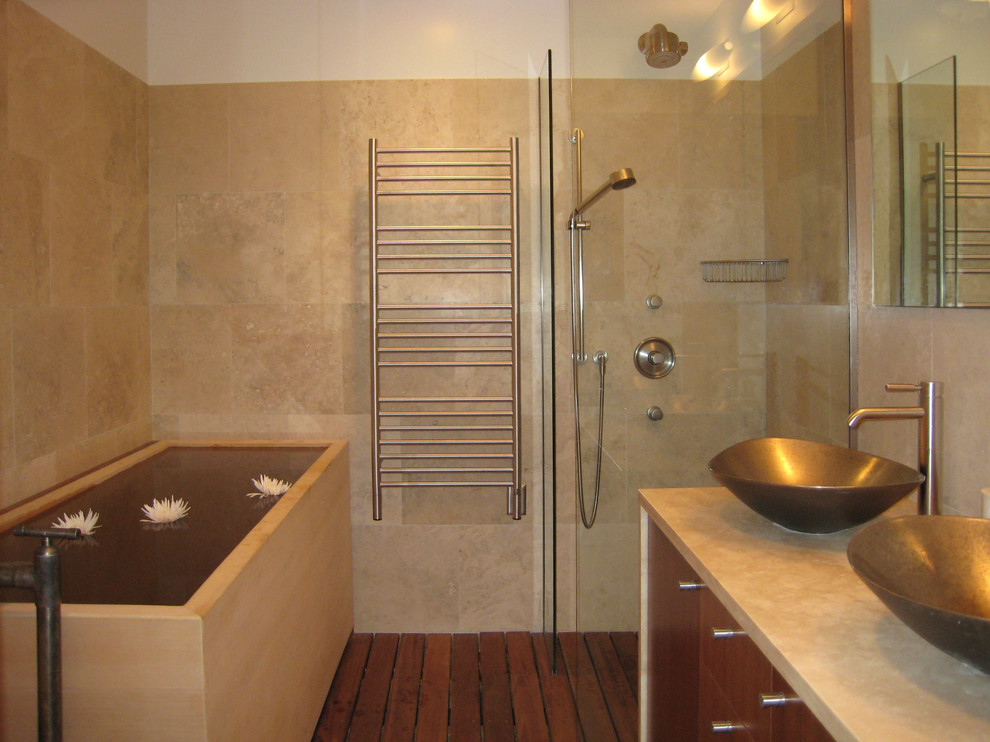 Minimalist bathroom photo in New York with a vessel sink