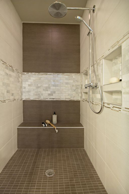 Brown and cream tile shower with mother of pearl accent for Granite and tile bathroom ideas