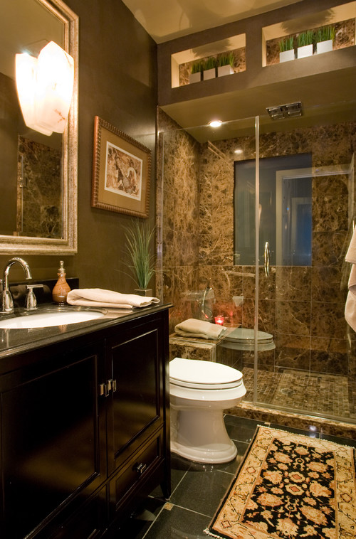 Brown Marble Bathroom contemporary bathroom