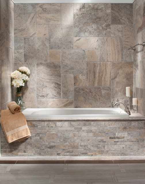 Brushed Travertine Bath - Traditional