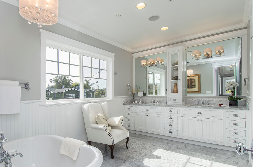 Bubble Chandelier In Drum And Vanity Lighting In White Marble Master Bathroom Craftsman Bathroom New York By Affordable Home Houzz
