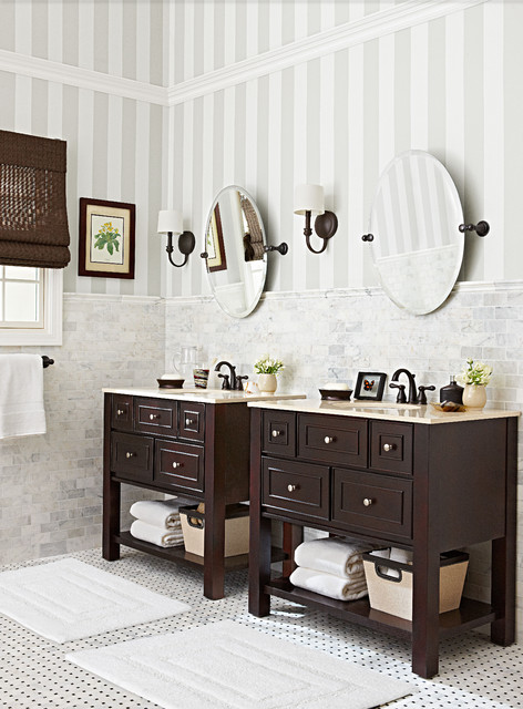Budget friendly marble and bronze bathroom traditional - Lowe s home improvement bathroom tile ...