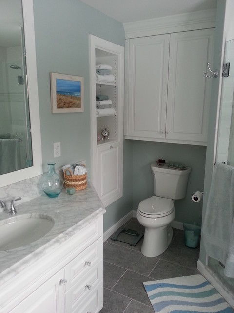 Build In Bathroom Design : Built in shelving and wall cabinet traditional