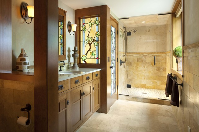 Interior Designers Decorators Bungalow Guest Bath With Stained Glass Details Traditional Bathroom