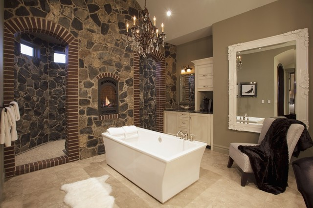 Bungalow show home in springbank traditional bathroom for Show home bathrooms