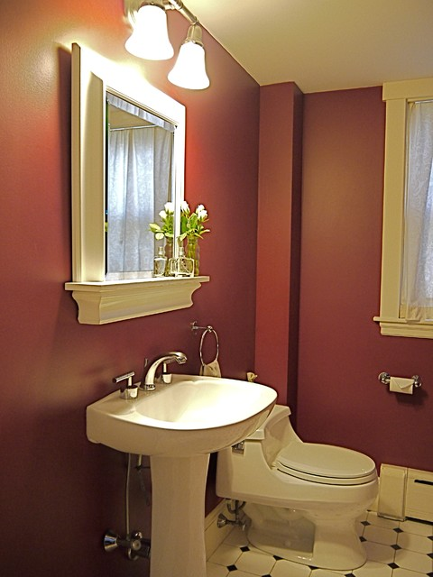 Burgundy Bath traditional bathroom. Burgundy Bath