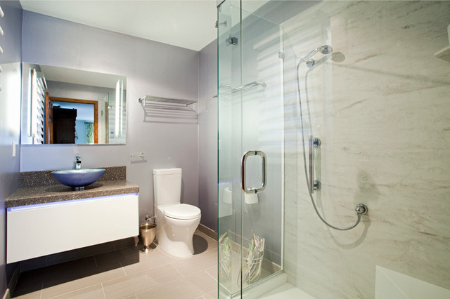 Burnsville His and Hers Bathrooms contemporary-bathroom