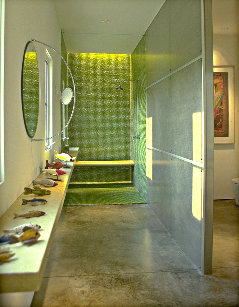 Inspiration for a modern mosaic tile concrete floor and green floor bathroom remodel in DC Metro with green walls
