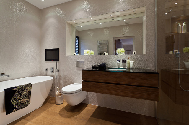 Trendy White Tile Freestanding Bathtub Photo In London With An Undermount Sink Flat Panel