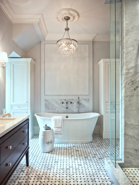 Classic bathroom in Toronto with a submerged sink, flat-panel cabinets, dark wood cabinets, marble worktops, a freestanding bath, a walk-in shower, grey tiles, mosaic tiles, grey walls, marble flooring and an open shower.