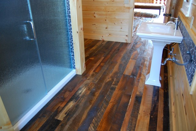 Benoist Reclaimed Wood Vanity Mirror: Cabin Bathroom Complete With Reclaimed Flooring