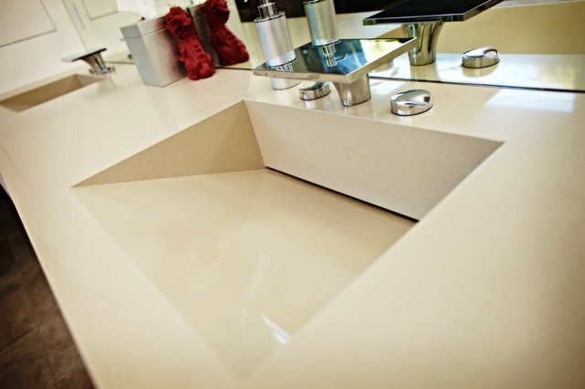 Caesarstone Quartz Vanity Top W Double Ramped Sinks Contemporary Bathroom