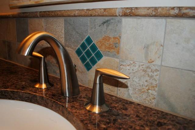 Cafe Amazonia Granite Remnant, Delta Faucet traditional-bathroom