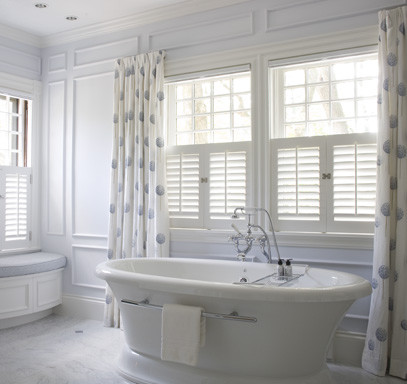 Caf Style Shutter Panels Traditional Bathroom