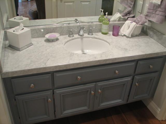 Calabasas Home Remodel-Grey and White Guest Bath/Carrera marble - Traditional - Bathroom - Los ...