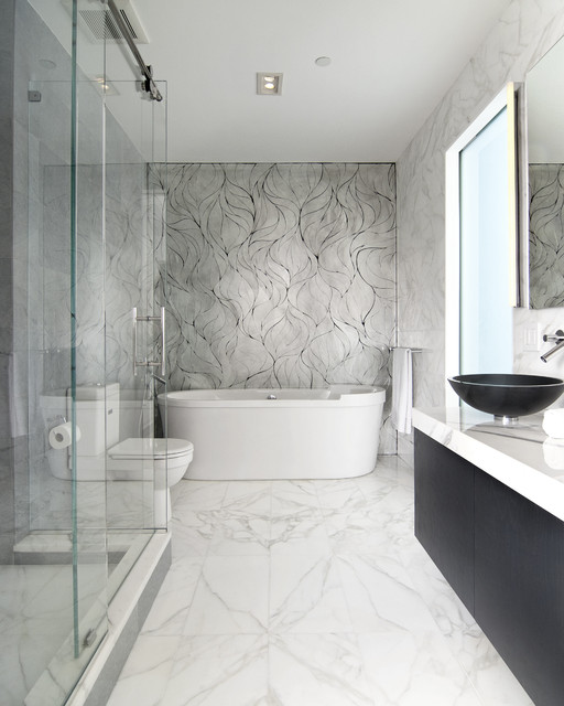 calacatta gold bath by epc management - modern - bathroom - new york