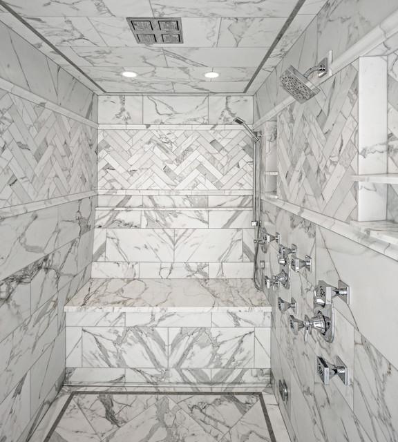 Calacatta Gold Steam Shower Traditional Bathroom