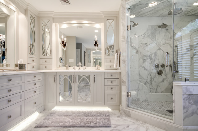 Calacatta marble master bath transitional bathroom for Marble master bathroom designs