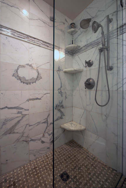 Calacatta Marble Shower Transitional Bathroom