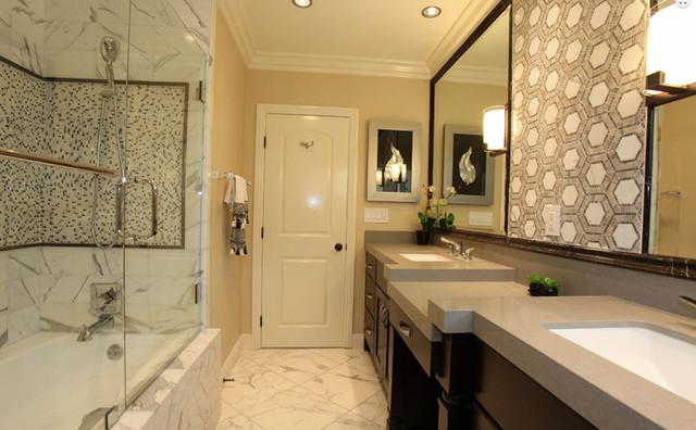 calacatta porcelain tile bathroom - traditional - bathroom - other