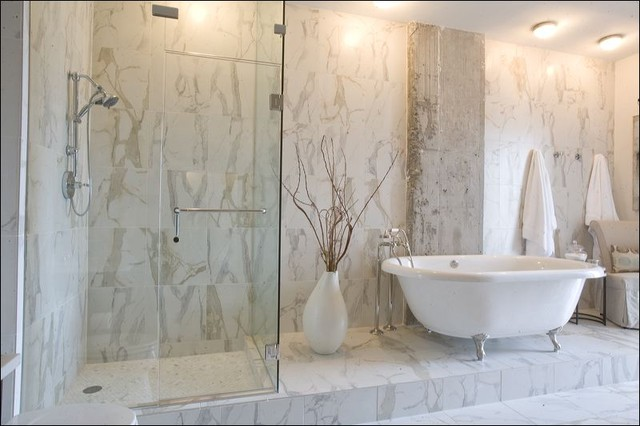 Bathroom Ideas With Ceramic Tile : Calacatta porcelain tile contemporary bathroom
