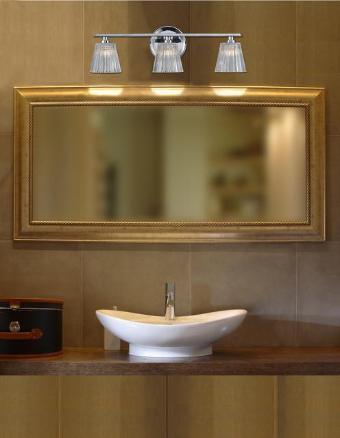 Contemporary Chrome Vanity Lights : Calais Collection Polished Chrome 3-Light 21