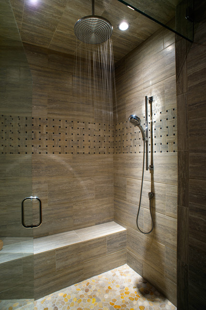 Caldera rustic modern with a twist of industrial for Cabin shower tile ideas