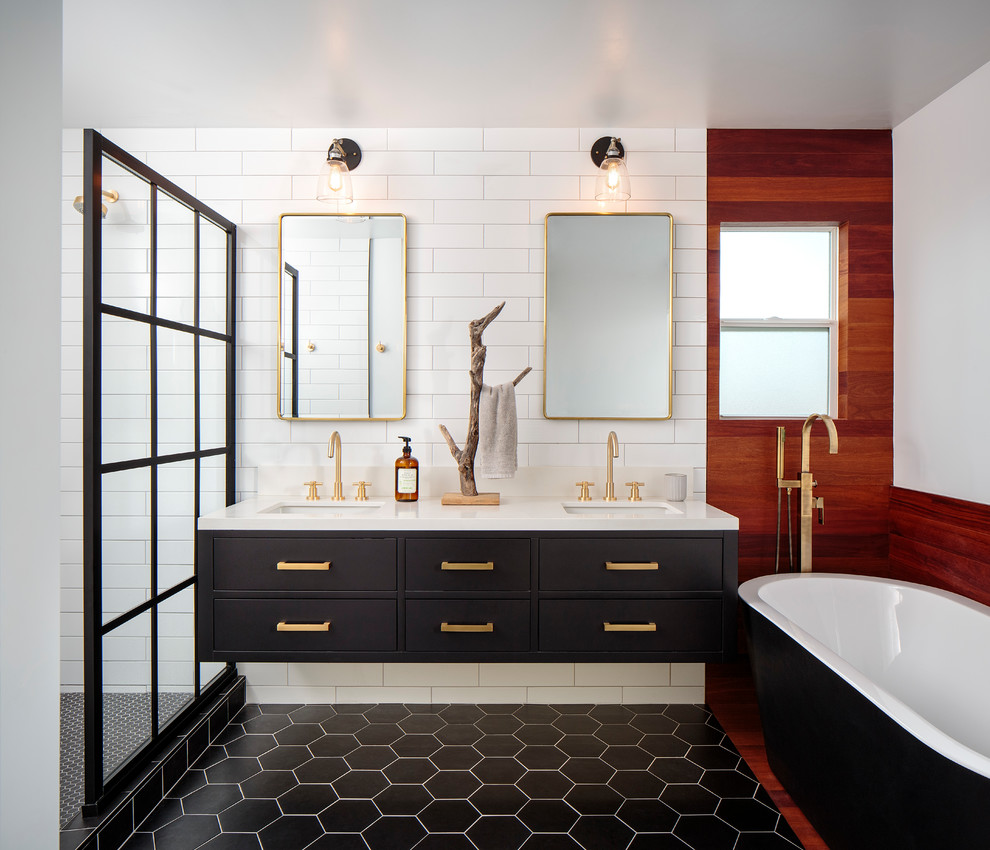 Bathroom - mid-sized contemporary master white tile and porcelain tile cement tile floor and black floor bathroom idea in San Diego with flat-panel cabinets, black cabinets, white walls, an undermount sink, quartz countertops and white countertops