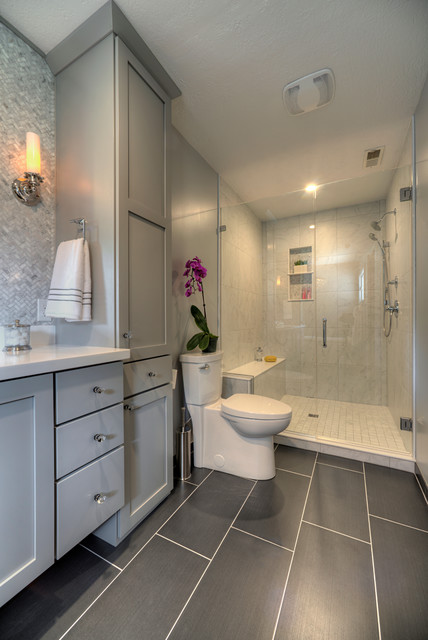 Calm And Contemporary Master Bath Transitional Bathroom Chicago By Yaminidesigns Llc