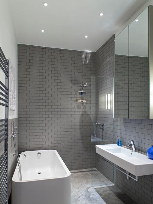 Grey tiled small bathroom