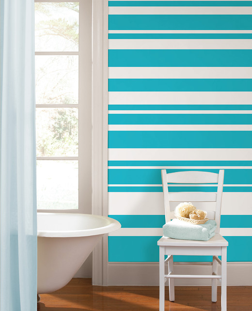 Wall Paint Design Stripes : Calypso stripes bathroom with wallpops wall