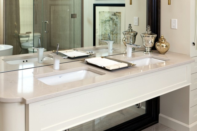 Inspiration For A Large Contemporary Master Beige Tile Bathroom Remodel In Toronto With An Undermount Sink