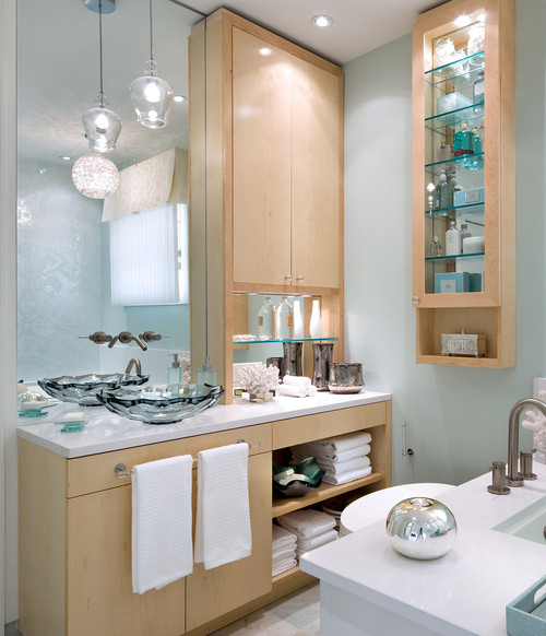 Light Wood Vanities For Bathrooms need inspiration - keeping medium wood cabinets