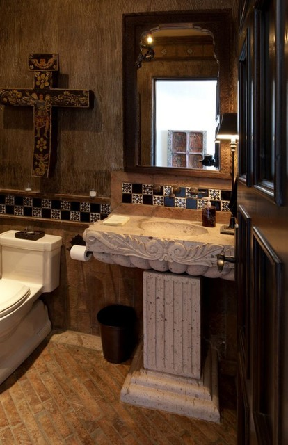 Cantera Stone Pedestal Sink Traditional Bathroom
