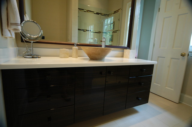 Cantilevered Vanity with vessel sink modern bathroom