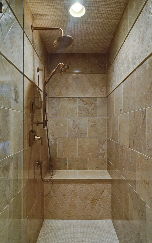 Seeking pictures of long narrow showers with 1 glass wall for Long bathroom designs