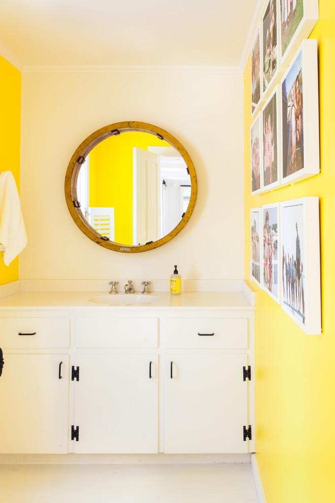 Bathroom - coastal bathroom idea in Boston with yellow walls