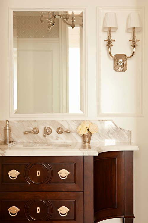 Gold Faucet, Lighting And Cabinet Hardware