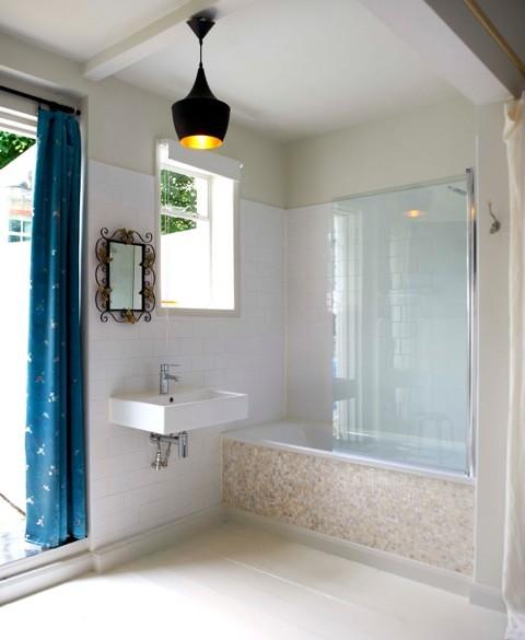 Capiz shell hanging ball lights and pure white brick - Capiz shell bathroom accessories ...