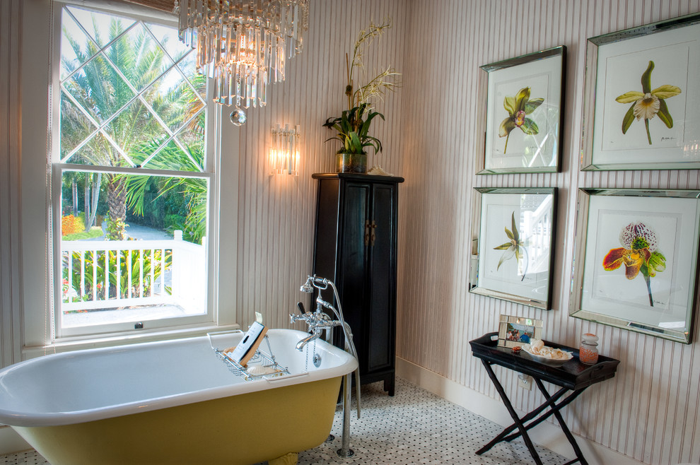 Bathroom - small victorian 3/4 mosaic tile floor and white floor bathroom idea in Miami with white walls, furniture-like cabinets and dark wood cabinets