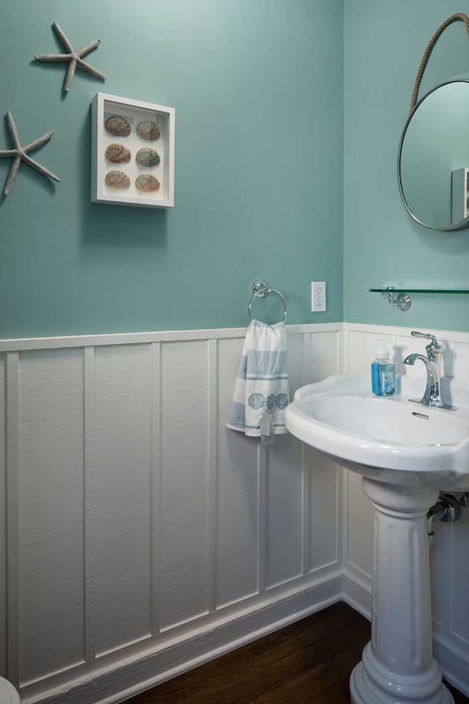 Inspiration for a mid-sized transitional 3/4 bathroom remodel in Other with blue walls