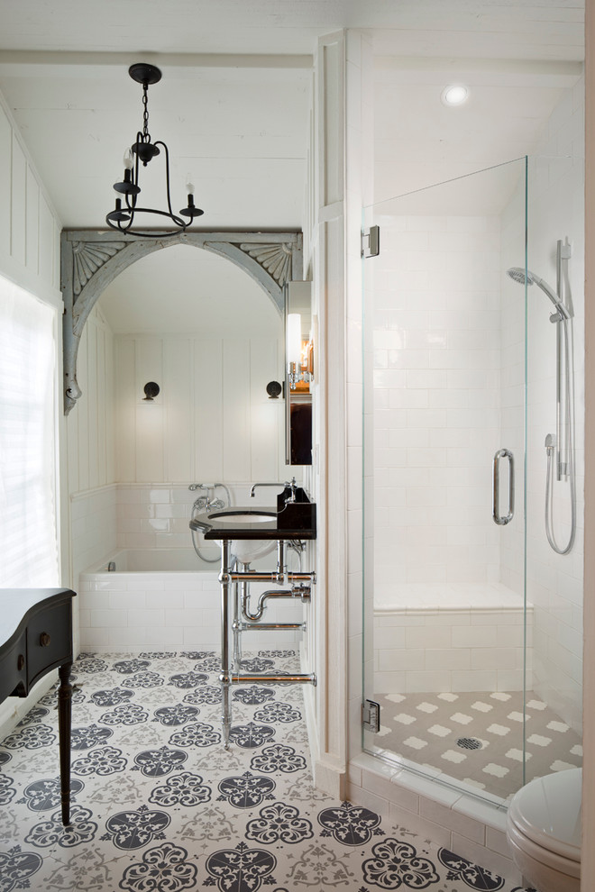 Mid-sized transitional corner shower photo in Other with white walls