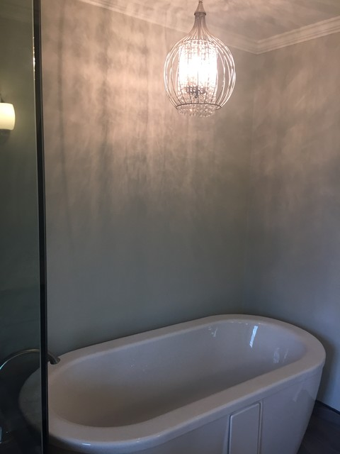 Example of a transitional master porcelain tile porcelain floor bathroom design in Indianapolis with recessed-panel cabinets, white cabinets, a two-piece toilet, blue walls and an undermount sink