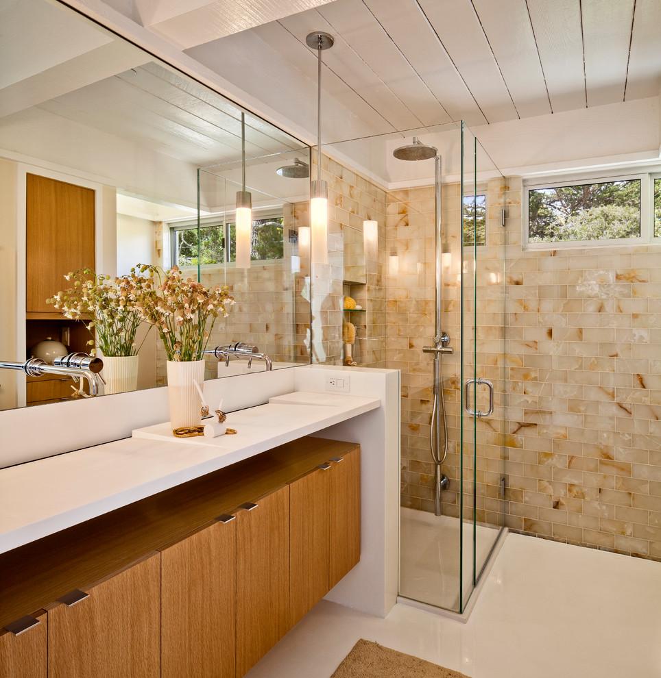 Inspiration for a 1950s subway tile bathroom remodel in San Francisco