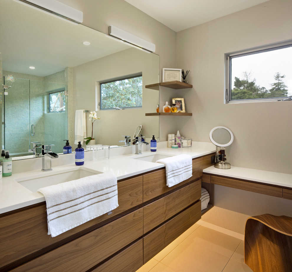 Bathroom - mid-sized contemporary green tile and mosaic tile ceramic floor and beige floor bathroom idea in San Francisco with flat-panel cabinets, dark wood cabinets, beige walls, an undermount sink, quartz countertops and a hinged shower door