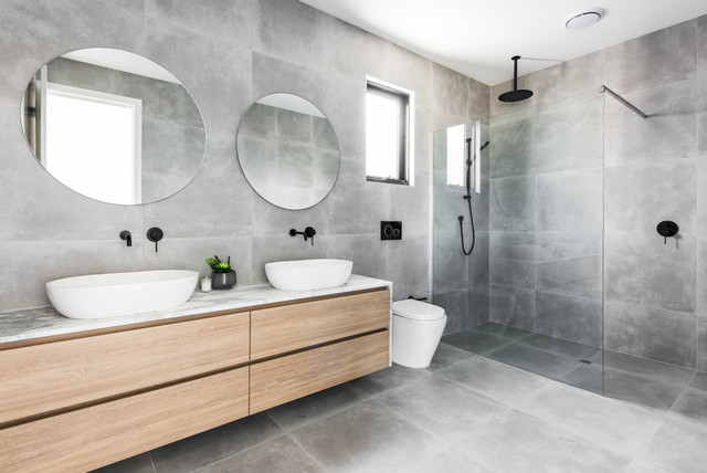 Inspiration For A Mid Sized Modern Master Gray Tile And Cement Floor