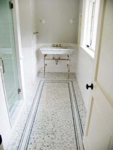 Carrara and Ceramic Bathroom traditional-bathroom