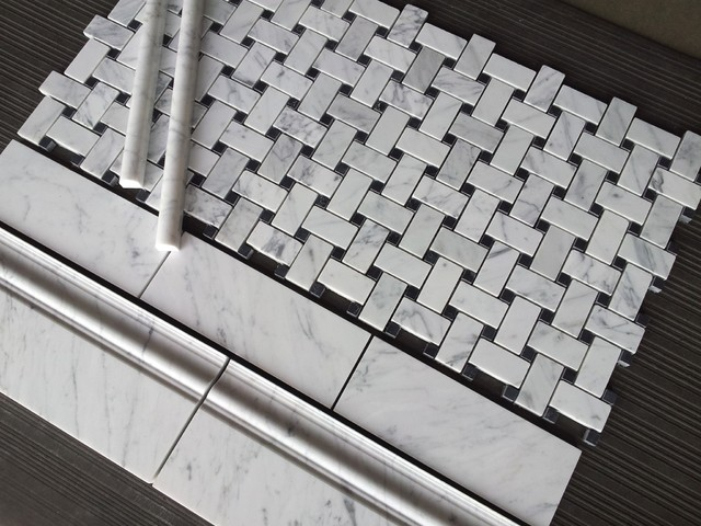 Carrara Basketweave Bianco Marble Collection Traditional